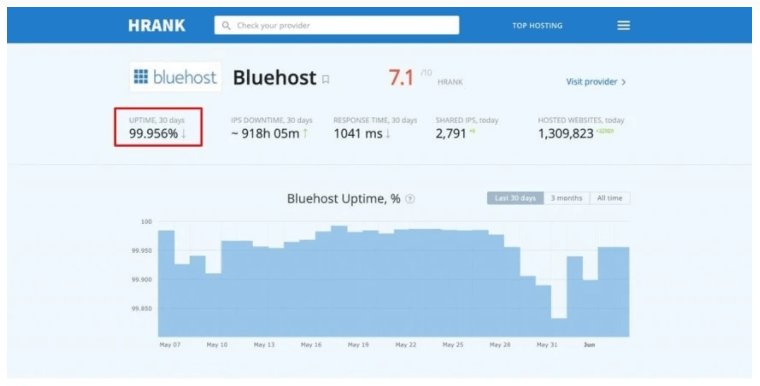 bluehost uptime review